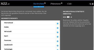 NZZ.at bietet die Möglichkeit zu personalisieren