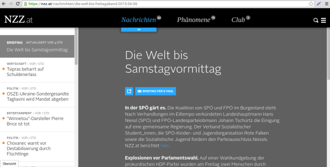 Screenshot NZZ.at